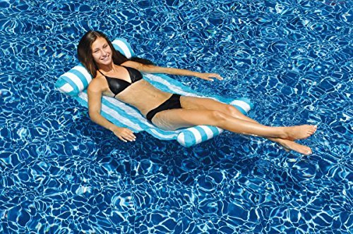 48 Water Sports Inflatable Blue and White Striped Hammock Swimming Pool Raft by Swim Central
