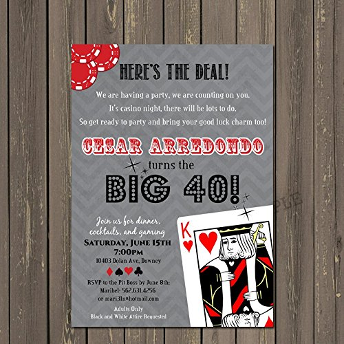 Casino Invitation, Poker Birthday Invitation, Adult Casino Party Invite, 30th, 40th, 50th, 60th, Over the Hill Party, Mens Birthday Party Invite -