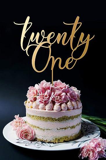 21 Cake Topper 21st Birthday Twenty One Gold Custom Numbers