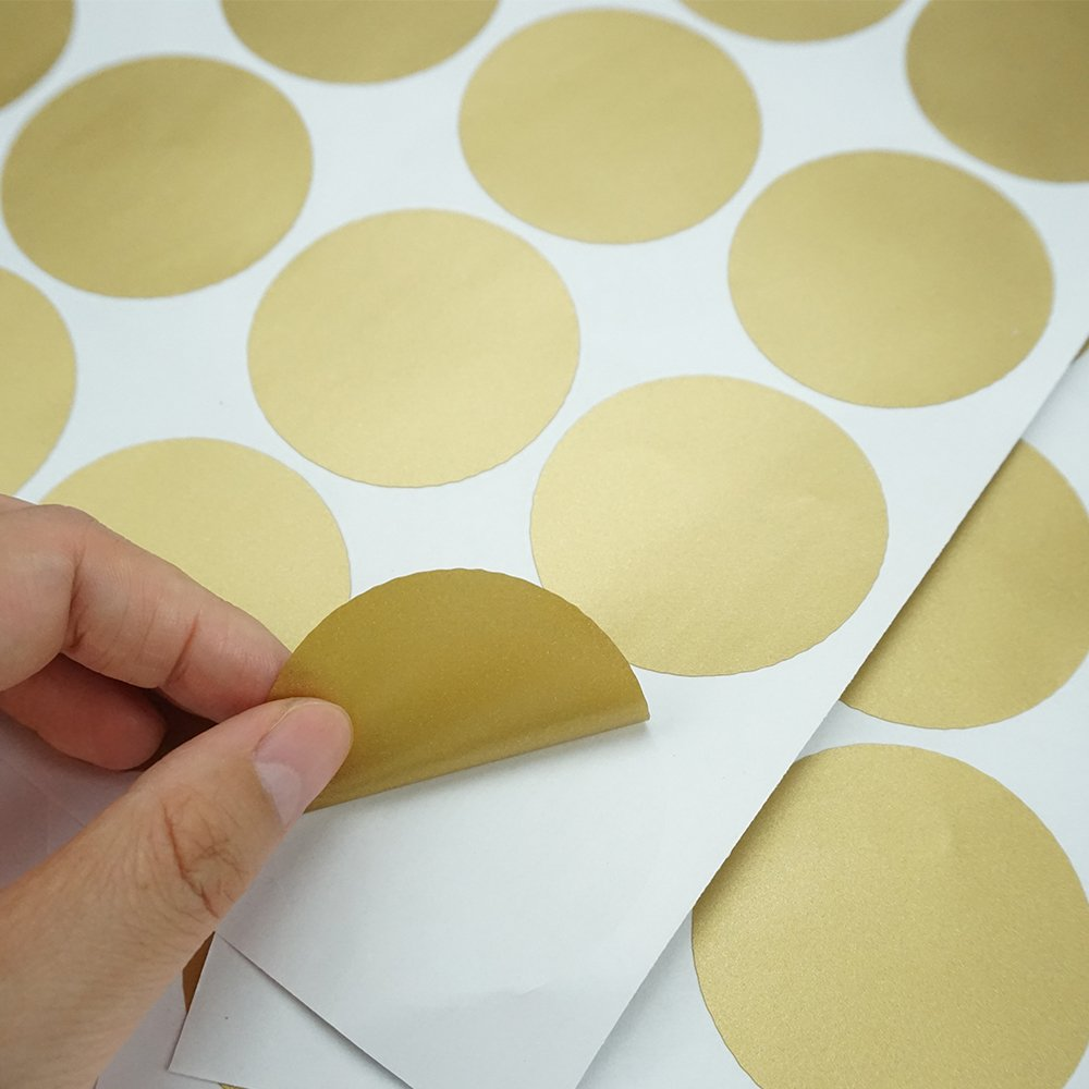 Bilipala Gold Wall Decal Dots Wall Stickers Vinyl Removable Round Polka Dot Decor Safe for Nursery Room Kids Room 2 Inch 200 Decals