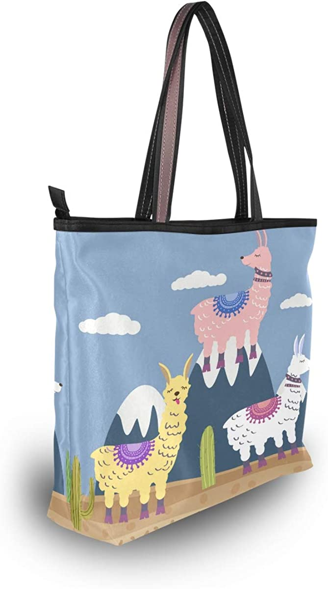 Large Tote Bag Lama Cactus Mountaine Landscape Shoulder Bag for Gym Hiking Picnic Travel Beach Bag