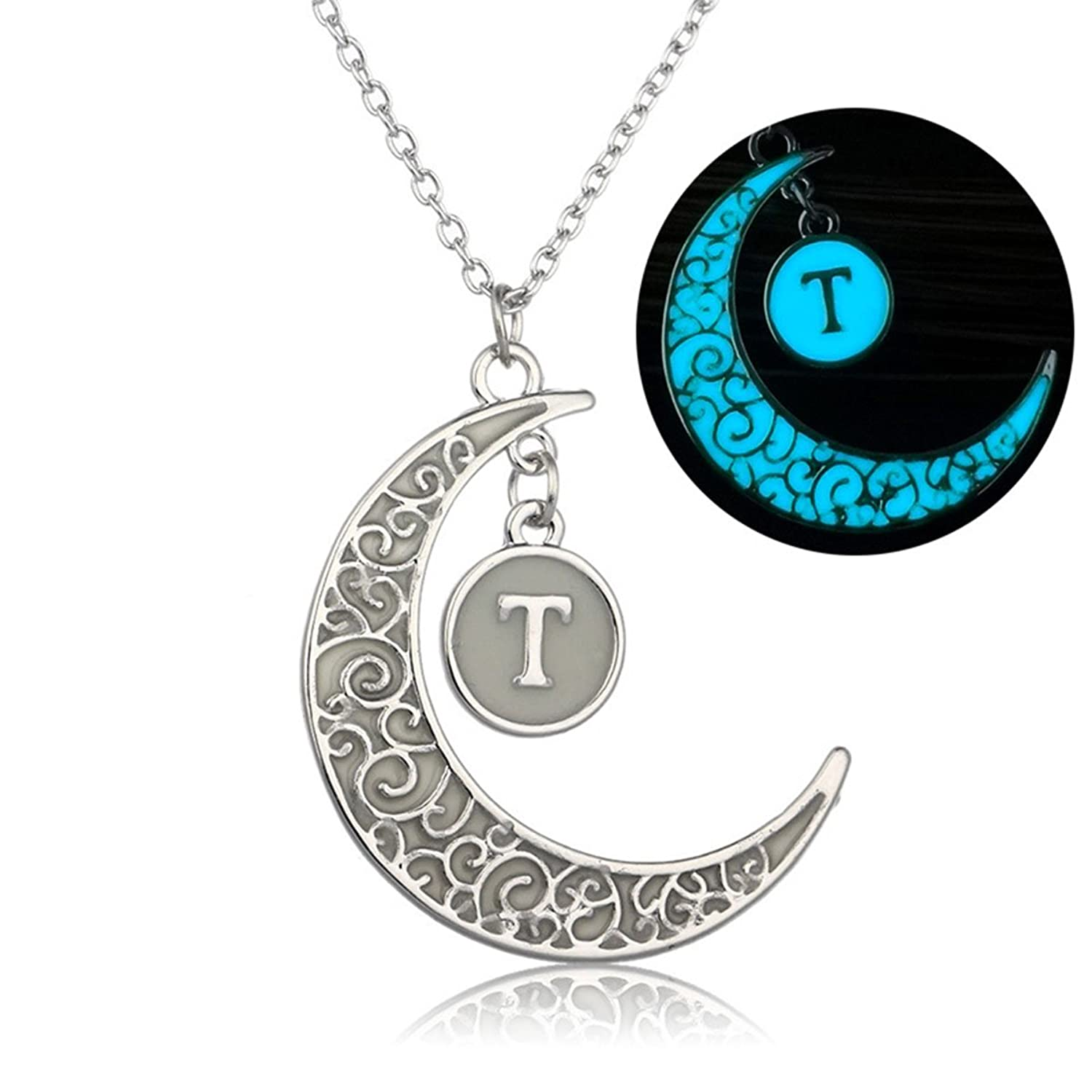 Amazon.com: Linsh Initial Necklace Glow in Dark Hollow Out Carved Moon T  Letter Pendant Necklace Color: Silver: Jewelry