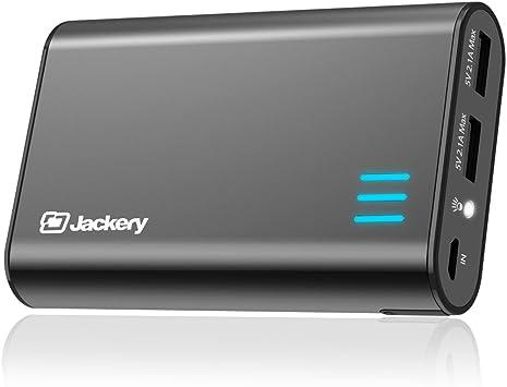 Cargador Portátil -Jackery Fit 10200mAh 2 ports de 5V/2.4A Cargador Móvil Batería Externa Power Bank Panasonic Célula y caja de aluminio para Smartphones iPhones MP3 Kindle Cámaras y tableta (Negro): Amazon.es: Electrónica