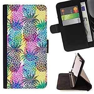 Psychedelic Pineapples Colorful Fruit - Painting Art Smile Face Style Design PU Leather Flip Stand Case Cover FOR Apple Iphone 5 / 5S @ The Smurfs