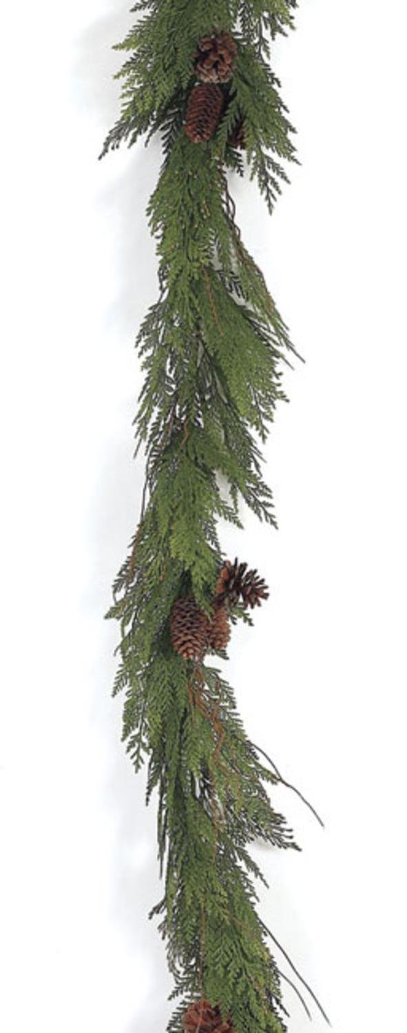 Pack of 4 Going Green Artificial Cedar and Pinecones Christmas Garlands 6'