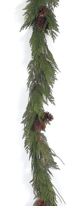 Melrose 6' Going Green Cedar and Pine Cones Artificial Christmas Garland - Unlit