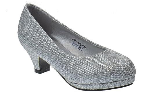 4793c814bb3 KP 100 K Little Girls Shimmer Heel Platform Dress Pumps Silver 10