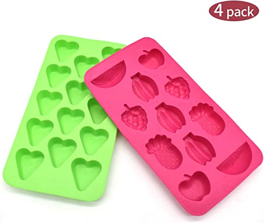 Liwein 4 Pack Moldes de Silicona Forma de Corazón,Bandeja para Cubitos de Hielo Moldes de Chocolate de Dulces para Hacer Caramelos Gelatina Galletas Hornear DIY: Amazon.es: Hogar