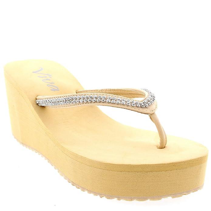 Damen Zehenriemen Diamant Flip Flop Plattform Sommer Keilabsatz Sandale - Nude - 41 - CD0198 ZUjLUG35d