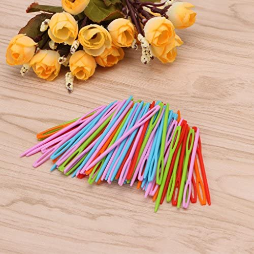 100pcs Hand Sewing Yarn Darning Tapestry Plastic Sewing Needles,Doober Lacing Needles Children Kids Weave Education Sewing Knitting Cross Stitch Knit Needles