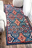 nuLOOM Traditional Vintage Diamond Drops Runner Area Rugs, 2′ 6″ x 8′, Multicolor