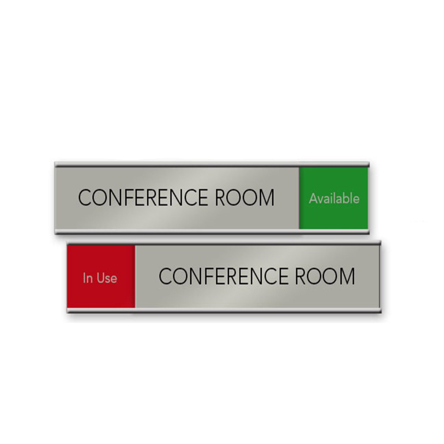 Quality Satin-Aluminum Slider Nameplates and Signs - 10 x 2 - Made in The USA (Red/Green)