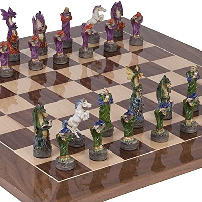 Hand Painted Fantasy Chessmen & Columbus Avenue Chess Board from Spain