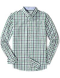 Men's Long Sleeve Plaid Checkered Button Down Casual Dress Shirts