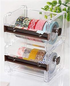 2pcs HomDSim Washi Tape Dispenser Cutter,Roll Tape Holder Organizer,Masking Tape Desktop Tape DIY Sticker Roll Tape Cutter Holder Storage,Washi Tape Box Brown