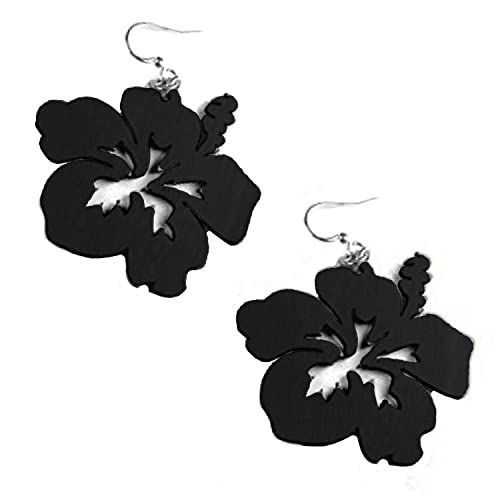 Amazoncom Green Tree Jewelry Black Hibiscus Flower Wood Wooden