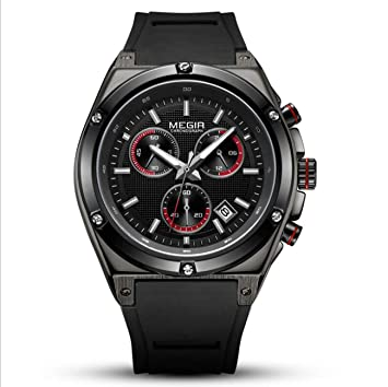Megir Relojes para Hombre de primeras Marcas de Lujo Banda de Silicona Reloj de Oro Hombres Cuarzo Impermeable Deporte Militar Reloj de Pulsera,Black: ...