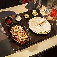 Planche de service Fajita avec Plateau Sizzle et 4ramequins pour présenter Fajitas du four à la table