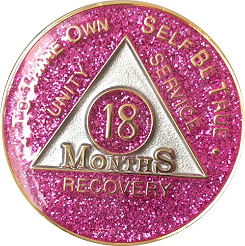 - 18 Month AA Medallion Pink Glitter Tri-Plate Chip