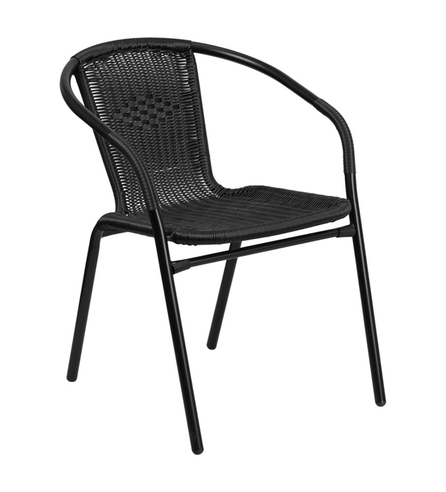 Offex Curved Back Black Rattan Indoor Outdoor Restaurant Stack Chair