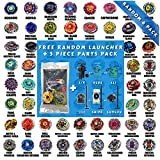 Beyblade Random Starter Set 6 Pack from Metal Fusion, Metal Fury, Metal Master, Zero G Shogun Steel Series + 1 Free Launcher & 5 Piece Random Parts Set - Tips, Energy Rings, Spin Tracks, Face Bolts