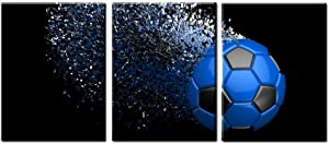 Blue Soccer Football Canvas Wall Art Prints Wrapped on Frames 3 Pieces for Boys Kids Room Poster Decoration Ready to Hang,12x16inchx3 (Blue)
