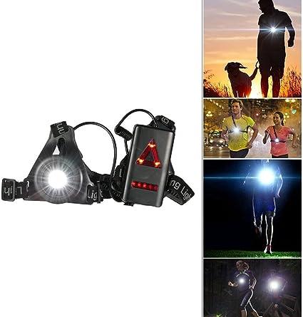 SGODDE Lumière de Frontale LED Chest Lumière Rechargeable Nuit Courir Lampe Torche avec Amovible Fixation Bande pour Camping Randonnées Courir