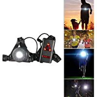 Runing Night Light,SGODDE Waterproof Sweatproof Outdoor LED Chest Lamp - Adjustable Strap 250 Lumen 3 Lighting Modes USB Charging Chest Flashlight For Night Runners,Joggers,Comping,Fishing,Climbing