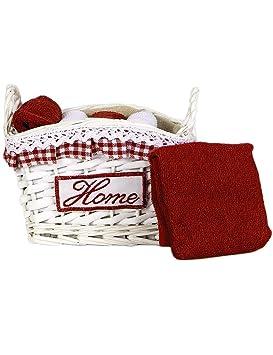 Cesta de mimbre lazo con 5 toallas rojas cm 30 X 30, juego de baño con toallitas invitados Idea regalo: Amazon.es: Hogar