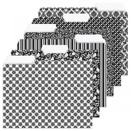 24 Elegant Black File Folder Value Pack - Set of 24 (6 Designs) 1/3 Cut Staggered Tabs, Letter-Size Designed Folders