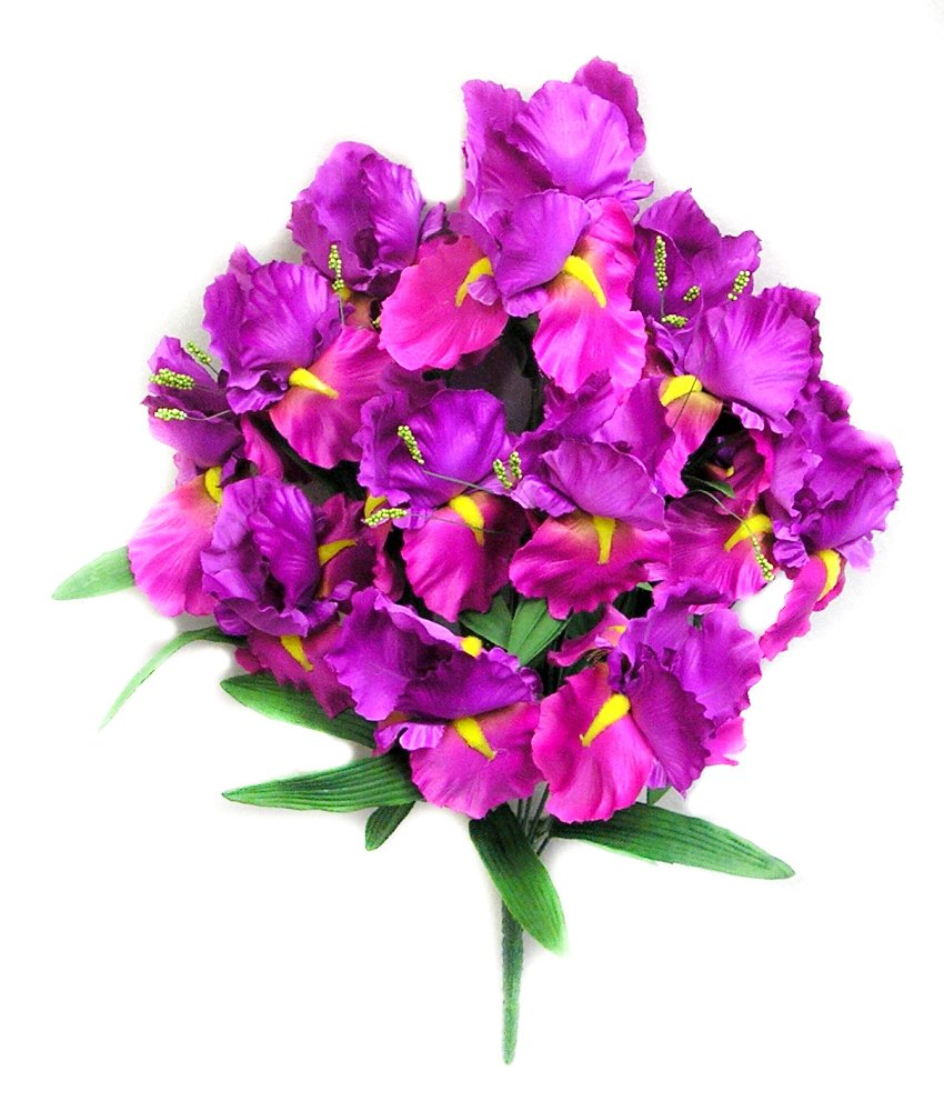 Admired By Nature GPB167-PURPLE 14 Stems Full Bloom Satin Iris Bush Purple Piece