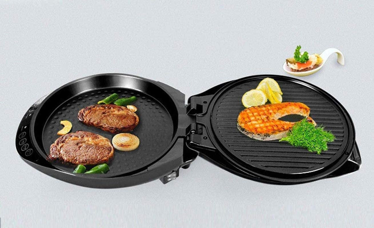 Color : Red Electric Teppanyaki BBQ Grill Griddle Hot Pot Multi Cooker Household Electric Baking Pan Non-Stick Smokeless Multi-Function 1200W, teppanyaki/Grill