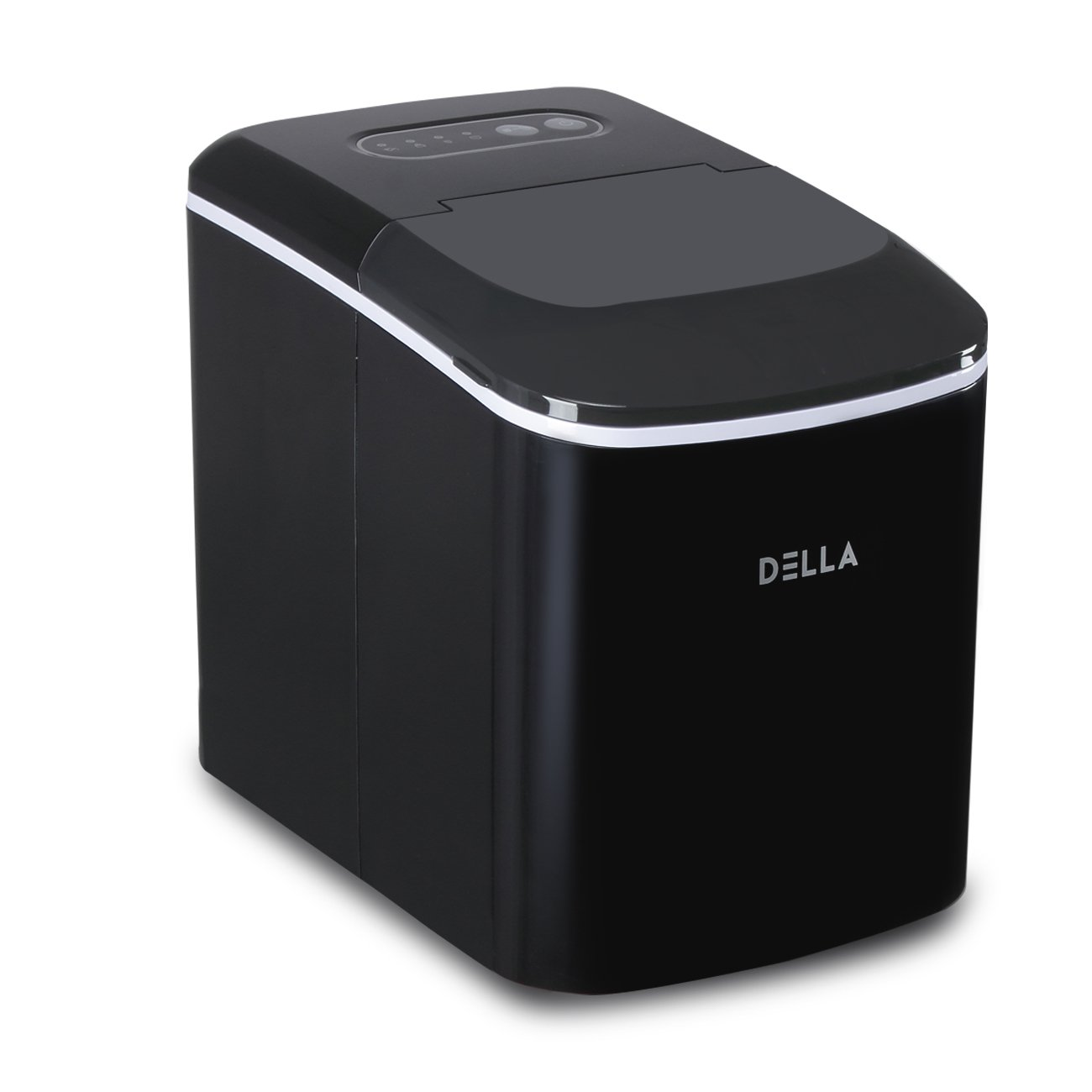 White DELLA 048-IM-D26-WHT Portable Electric Ice Maker Machine 26 lbs per Day Cubes Making with Scoop One Size,