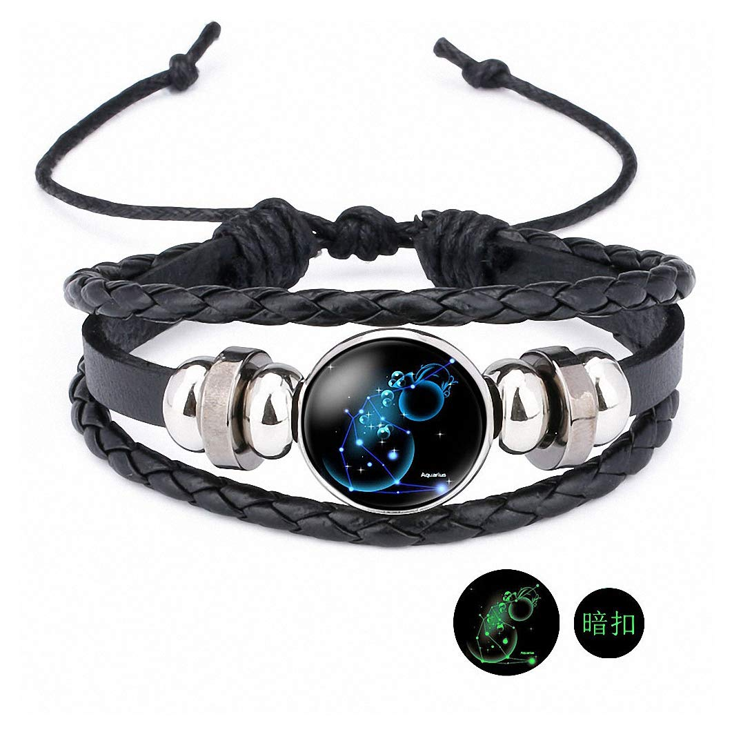 Giwotu Womens Handmade 12 Zodiac Signs Glass Cabochon Braided Leather Bracelets 12 Constellation Men Beaded Charm Punk Style Jewelry