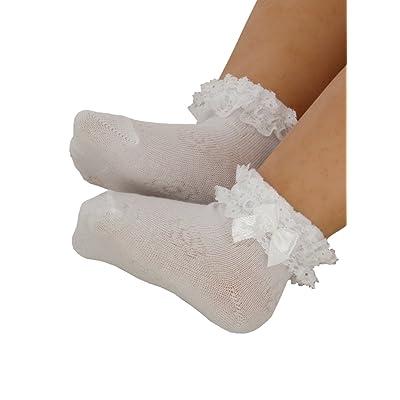 Boutique-Magique Chassettes blanches avec dentelle pour bébé fille