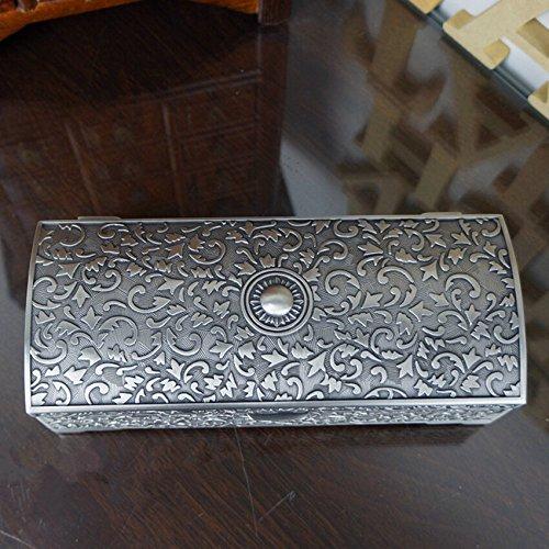 Unendlich U Klassisch Titan Apollo Rose Gravur Antiken Silbern Damen Metalllegierung Schmuckkoffer Schmuckkasten Schmuckkästchen-Groß -