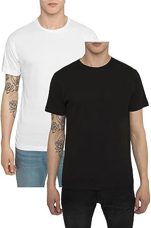 Pack 2 Camisetas Basicas para Hombre, Camiseta Lisa Negra, Blanca Casual Deluxe Deportiva –