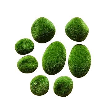 8 piedras artificiales de musgo para acuario, pecera, pecera, lichen, decoración de jardín de hadas: Amazon.es: Jardín