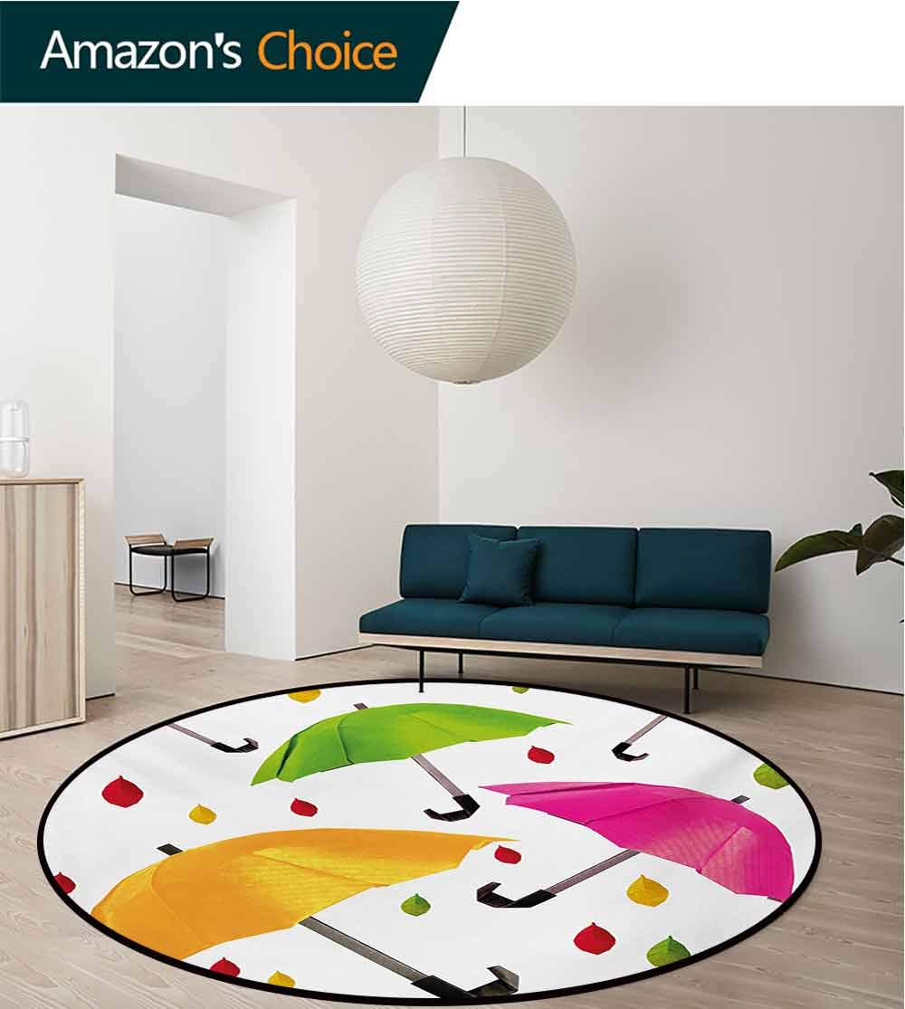 RUGSMAT Colorful Modern Machine Round Bath Mat,Several Sized Umbrella Motif with Leaf Droplets Water Climate Security Design Non-Slip No-Shedding Kitchen Soft Floor Mat,Diameter-47 Inch