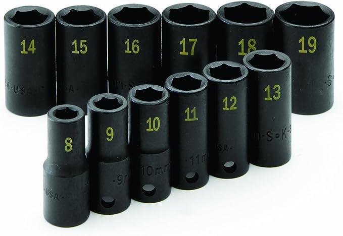 SK Hand Tool 4080 Drive Semi-Deep Metric Impact Socket Set 3//8-Inch