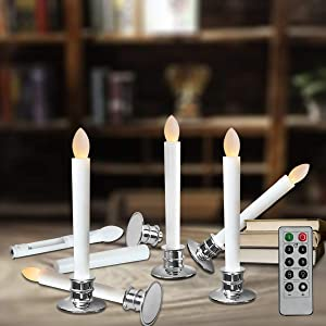 Window Candles with Remote Timers Battery Operated Flickering Flameless Led Electric Candle Lights with Removable Tapers Pillar Candle Holders for Christmas Decorations 6pcs Silver Base