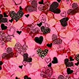 Hoffman Sweethearts Allover Hearts Hot Pink Gold Metallic, 44-inch (112cm) Wide Cotton Fabric Yardage