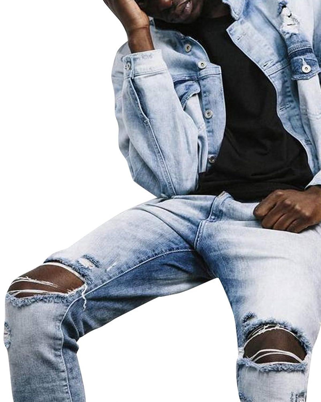 Homme Mode Pantalons Men's Casual Trousers Hole Slim Fit Jeans Pants:  Amazon.fr: Vêtements et accessoires