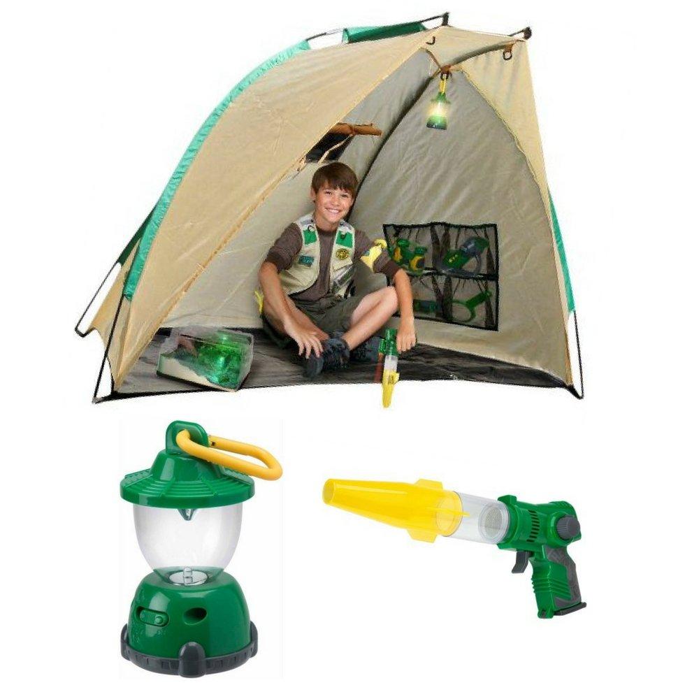 Backyard Safari Base Camp Shelter, Mini Lantern and Safari Lazer Light Bug Vac, Camping Accessories Gift Bundle, Kids Adventure Games, Kids Outdoor Fun Activities