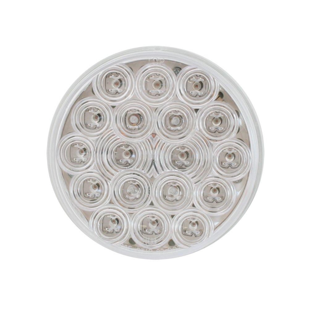 Grand General 76453 Red 4 Round Fleet 18-LED Stop//Turn//Tail Sealed Light with Clear Lens