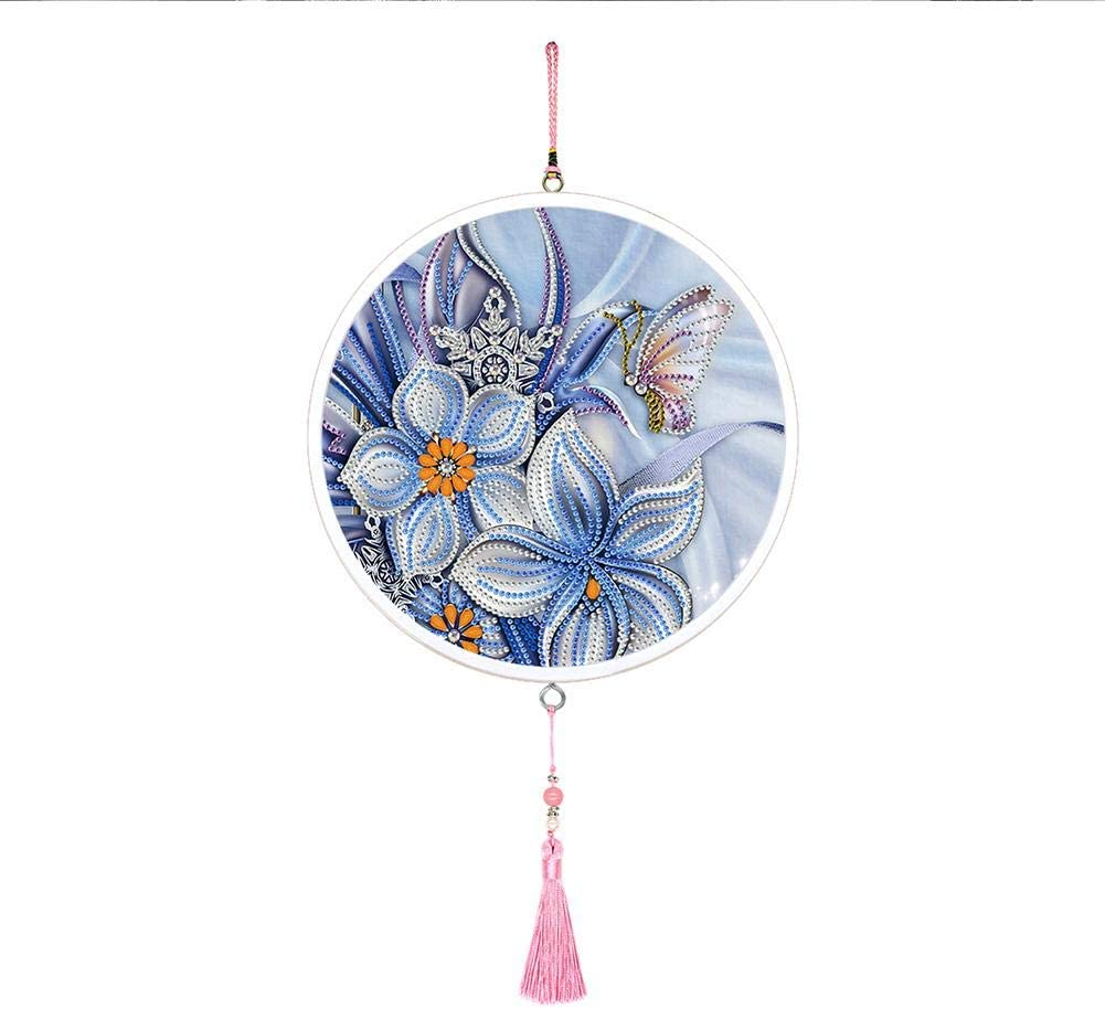 Diamond Painting Hanging Ornaments with Tassel Kits Mural Home Wall Pendants DIY Diamond Painting Flower Special Shape Drill Mosaic Making Art Crafts Gifts (Flower Butterfly)