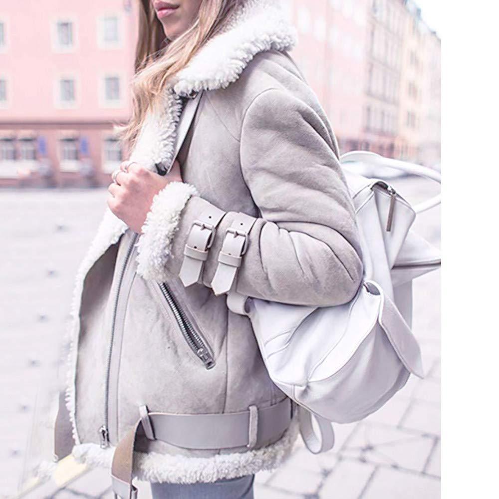 Luckylin Womens Warm and Soft Autumn Winter Faux Fur Fleece Coat Outwear Warm Lapel Biker Motor Aviator Jacket