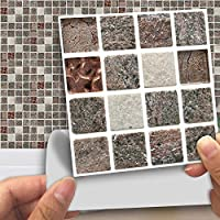 Fymural Tile Stickers for Kitchen & Bathroom Waterproof Anti-Mold Backsplash 4x4 Inch Stone Mosaic Tile Sticker Decals for Walls Stairs Deacoration 18PCS Wallpapers