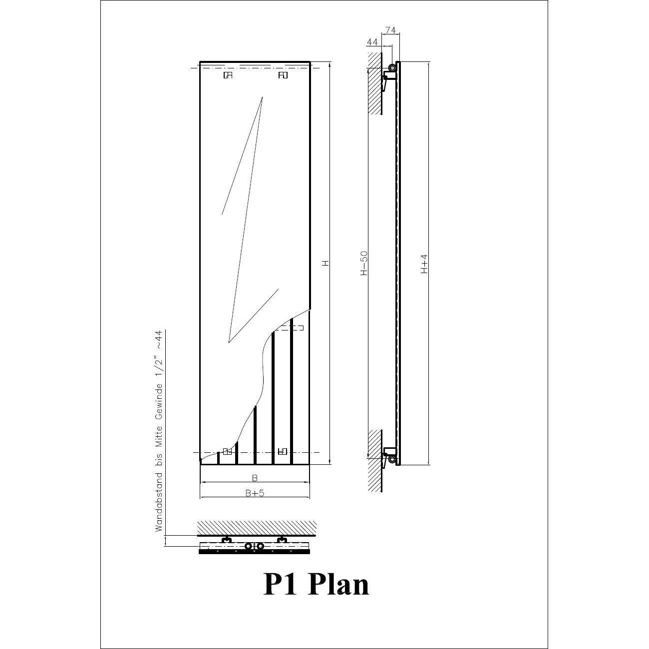 RAL 9016, wei/ß H/öhe 1800 x Breite 598 mm mit Mittenanschluss XIMAX Paneelheizk/örper P1 Plan