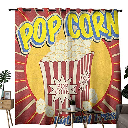 duommhome Retro Fresh Curtains Vintage Grunge Pop Corn Commercial Print Old Fashioned Cinema Movie Film Snack Artsy Privacy Protection W84 x L96 Multicolor